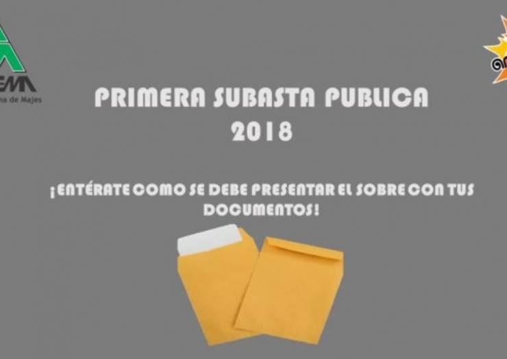 "PRESENTACIÓN DE SOBRES ""SUBASTA PUBLICA 2018"""